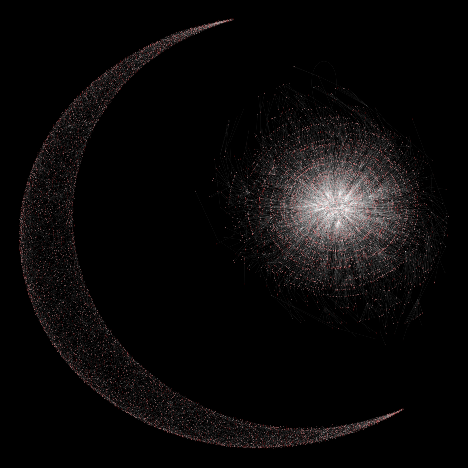 Star and crescent formed by Kamada-Kawai on 20,000 names